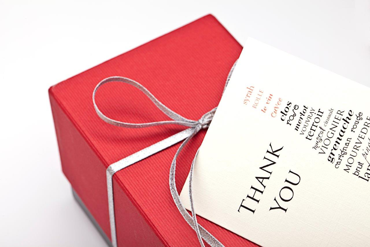 Personalised card with red gift box