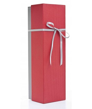 Rigid 1 Bottle Gift Carton-red-silver